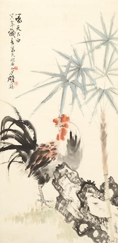 Guan Shanyue and Li Gemin, Rooster, Palm and Rock, hanging scroll, ink and color on paper