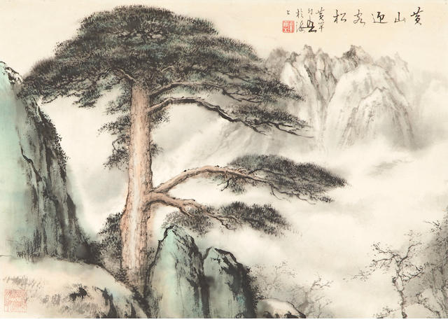 Huang Huanwu, Pine on Huangshan, ink and color on paper, laid down, mounted and framed
