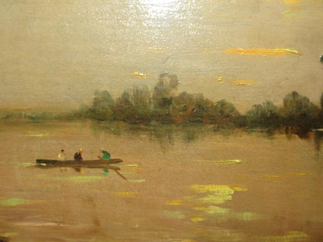 Hippolyte Camille Delpy (French, 1842-1910) A river view at sunset with figures in a boat 14 1/2 x 24in (36.8 x 61cm)