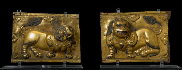 Two Tibetan gilt metal repoussé plaques 16th/17th century