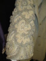 A Galanos cream wool embroidered sleeve coat