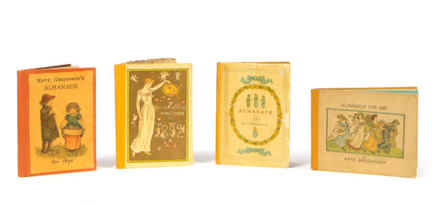 GREENAWAY, KATE. Almanack for 1883 [1887, 1892, 1894]. London: George Routledge and Sons, 1883-94. Almanack for 1883 [1887, 1892, 1894]. London: George Routledge and Sons, 1883-94.