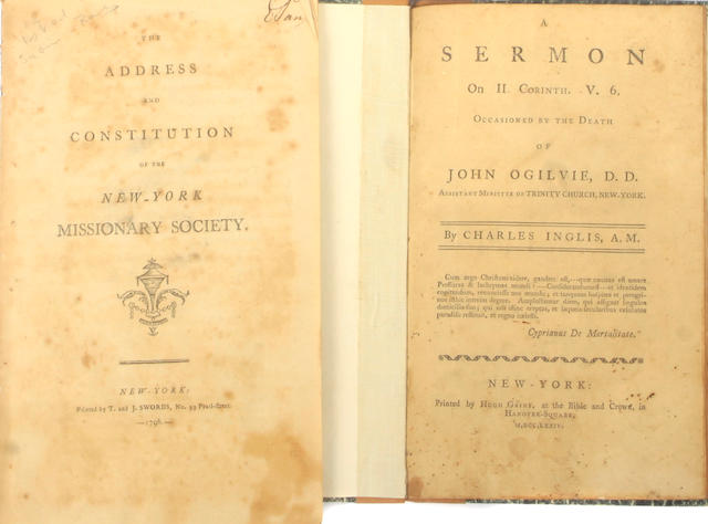 PAMPHLETS.  1.INGLIS, CHARLES.  A Sermon on II Corinth. V. 6 Occasioned by the Death of John Ogilvie.  New York: Hugh Gaine, 1774.