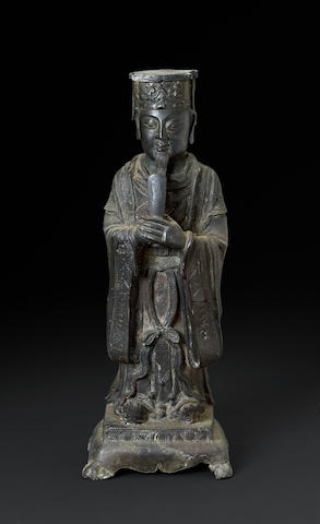 A cast bronze standing Daoist divinity Late Ming dynasty