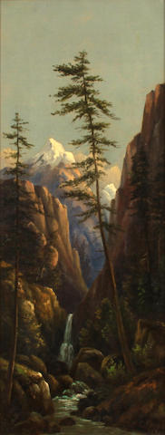 Henry Chapman Ford (American, 1828-1894) Sierra Mountain Defile, 1881 24 x 9 1/2in