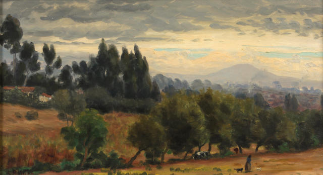 Ludmilla Pilat Welch (American, 1867-1925) Montecito with Rincon Mountain in the distance 10 x 18in