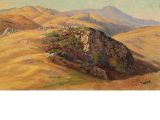 Thaddeus Welch (American, 1844-1919) Figueroa Mountain 10 x 18in
