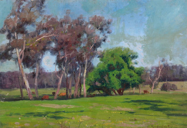 Gordon Coutts (Scottish/American, 1868-1937) Cows grazing under eucalyptus and oaks; Adobe home and garden;Southwest farm (group of three)   first 11 x 16in; second 13 x 18in; third 12 x 18in
