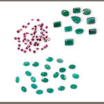 Group of emeralds and ruby melee: 18.5 cts emeralds (10 pieces, rectangle, oval. pear shaped, and 21 pieces; together with approximately 8.0 cts. of princess cut ruby melee