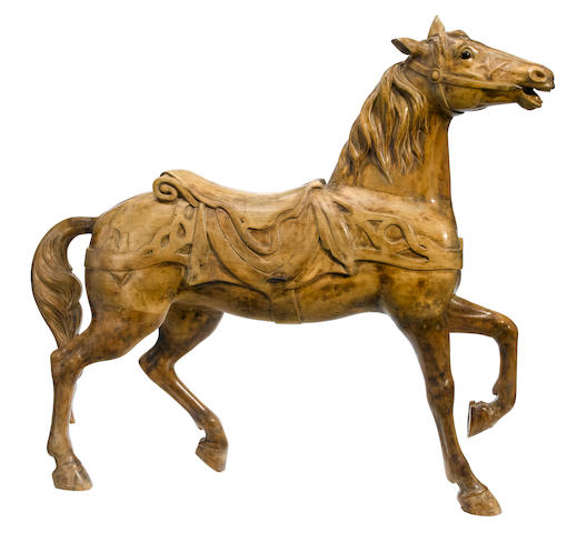 A carved carousel horse <BR />Gustav Dentzel, Philadelphia <BR />late 19th century