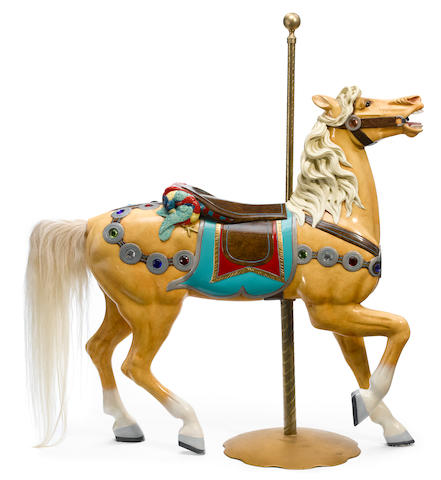 A carved and paint decorated carousel horse <BR />Charles Loof, Brooklyn, New York <BR />late 19th century