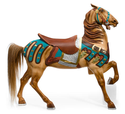 A carved and paint decorated carousel horse <BR />Stein and Goldstein, Brooklyn, New York <BR />early 20th century
