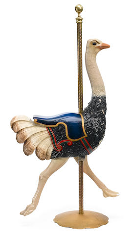 A carved and paint decorated carousel ostrich <BR />Herschell Spillman, North Tonawanda, New York <BR />early 20th century