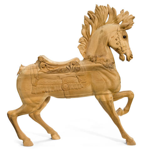 A contemporary carved and paint decorated carousel horse <BR />after a model by Marcus Illions