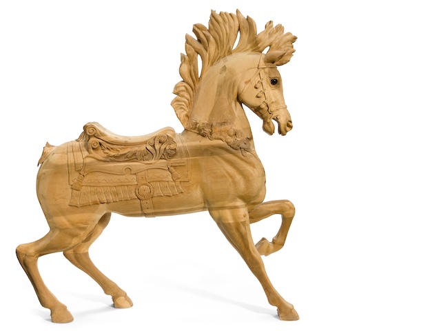 A reproduction carousel horse