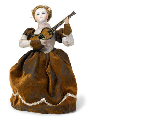 A girl playing with a guitar <BR />French, late 19th century