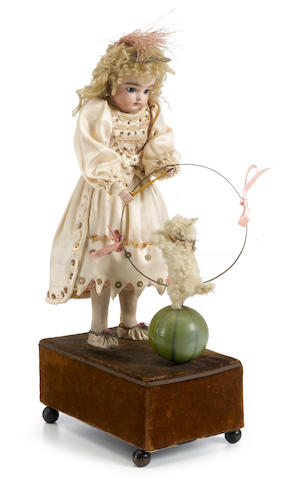 A girl with trick dog hoop and ball <BR />French, late 19th century
