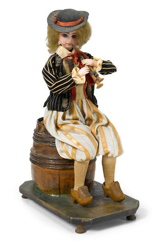 A girl playing the bag pipe automaton <BR />Roullet and Decamps, late 19th/early 20th century