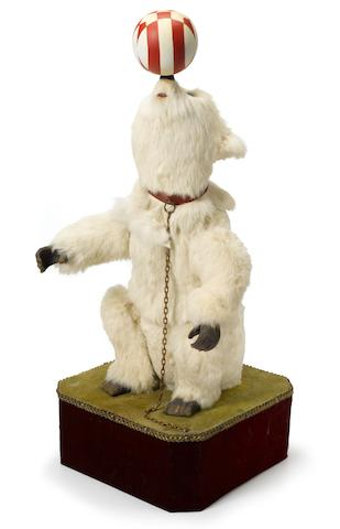 A polar bear and circus ball <BR />French<BR />late 19th/early 20th century
