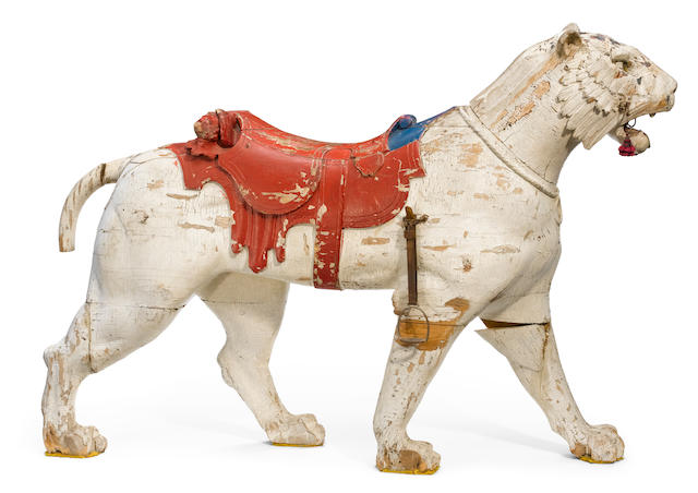 A carved and paint decorated carousel tiger <BR />Philadelphia Toboggan Company, Philadelphia <BR />circa 1900-1910