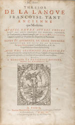NICOT, JEAN. 1530-1600. Thresor de la langue Françoyse. Paris: [Denis Duval for] David Douceur, 1606.<BR />