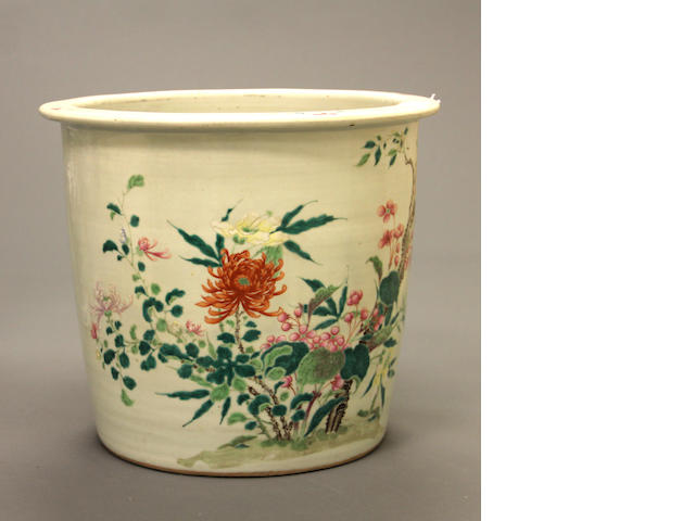 A Chinese porcelain famille rose jardinière 19th century 19th century