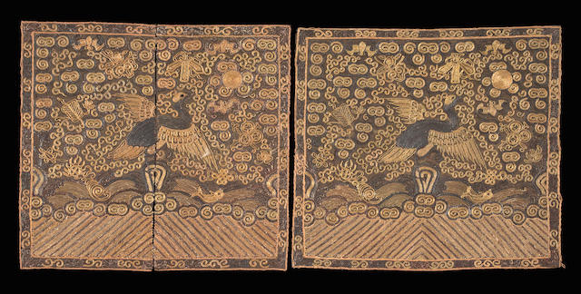 A pair of embroidered insignia badges Qing dynasty