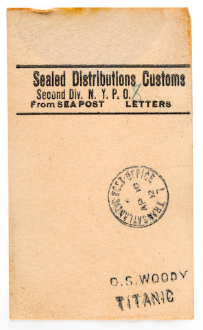 Postal facing slip from a postal clerk on board the R.M.S. Titanic