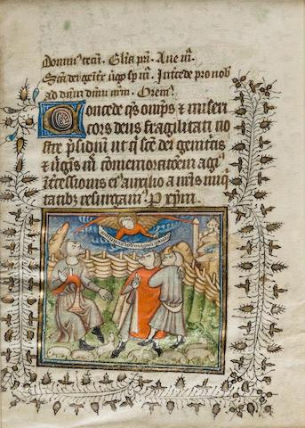 ILLUMINATED LEAVES. 3 illuminated manuscript leaves on vellum from 2 manuscripts, [France, early 15th century].