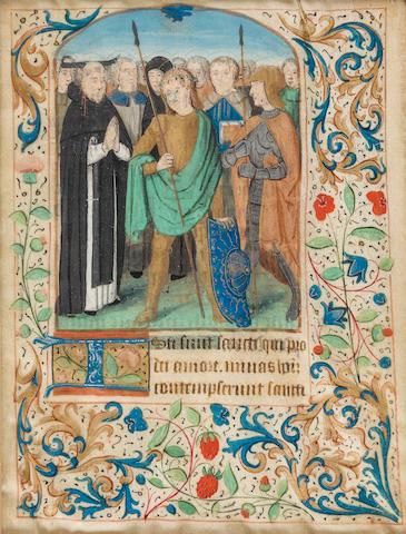 ILLUMINATED LEAF—BOOK OF HOURS. Illuminated manuscript on vellum, [Northern France, mid or late 15th century].