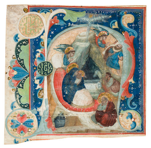 ILLUMINATED INITIAL. Historiated initial on an earlier vellum leaf, [probably Italy, the initial 18th century, the leaf 16th century].