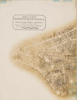 NEW YORK CITY. FAIRCHILD AERIAL CAMERA CORPORATION. Aerial Survey Manhattan Island, New York City ... This Mosaic was made by assembling 100 Aerial Photographs taken while flying over the area at an altitude of 10,000 feet. <BR />
