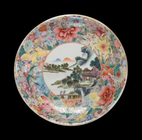 A porcelain deep dish with famille rose enameled landscape and mille-fleurs decoration Qianlong mark, Republic period