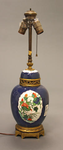A powder blue famille verte enameled porcelain ginger jar Qing dynasty 19th century