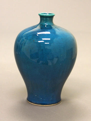 A Chinese turquoise crackle-glazed porcelain meiping Qing dynasty 18th/19th century