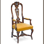 A William and Mary style walnut armchair