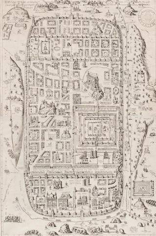 BRAUN, GEORG, AND FRANS HOGENBERG. Ierusalem et suburbia eius.... [Cologne: 1588.]