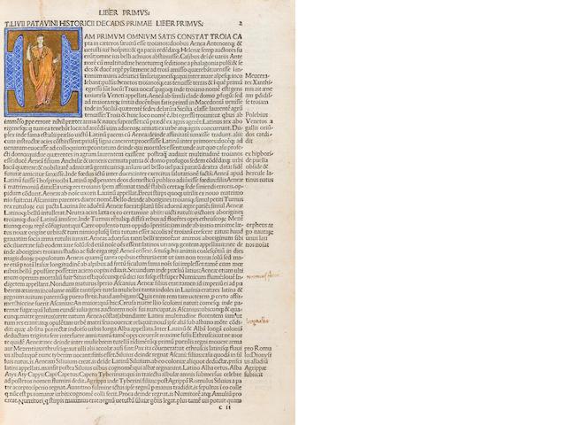 LIVIUS, TITUS. Historiae Romanae decades. Venice: [Johannes Rubeus Vercellensis], November 5, 1491.<BR />