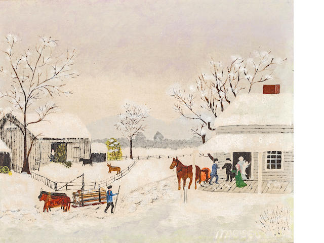 Grandma Moses (American, 1860-1961) Home for Thankgiven 8 x 9 3/4in