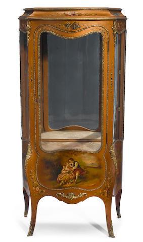 A Louis XV style gilt bronze mounted Vernis Martin vitrine