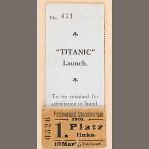 [TITANIC] A rare and important ticket stub to the launching of R.M.S. Titanic.  31st May 1911 3-1/4 x 1-3/4 in. (8.25 x cm.)