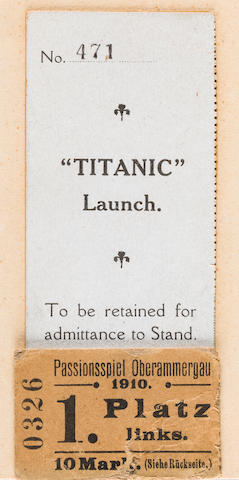 [TITANIC] A rare and important ticket stub to the launching of R.M.S. Titanic<BR /> 31st May 1911 3-1/4 x 1-3/4 in. (8.25 x cm.)