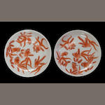 A pair of iron red enameled porcelain deep dishes Guangxu marks