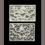 Two rectangular jade 'dragon' plaques Ming dynasty
