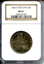 1846-O 50C Med Date MS61 NGC