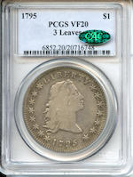 1795 $1 3 Leaves VF20 PCGS CAC