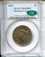 1832 1C Medium Letters MS63 Brown PCGS