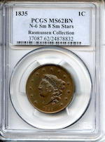 1835 1C N-6 Sm 8 Sm Stars Rasmussen Collection MS62BN PCGS