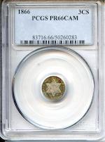 1866 3CS PR66CAM PCGS