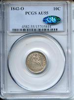 1842-O 10C AU55 PCGS